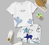economico -Bambino Bambino (1-4 anni) Da ragazza Completo Manica corta Bianco Pop art Con stampe Da tutti i giorni Attivo Standard Sopra il ginocchio 2-8 anni
