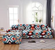 abordables -housse de canapé contractée des lignes colorées imprimées extensible à la poussière (vous obtiendrez 1 taie d'oreiller en cadeau gratuit)
