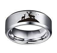 economico -Anello in tungsteno con scena di paesaggio in argento di 8 mm di larghezza, finitura lucida piatta, senza finiture da 4 a 17