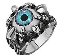 economico -sainthero anelli da uomo vintage gotici in acciaio inossidabile anelli argento nero artiglio di drago diavolo diabolico occhio teschio biker anelli blu taglia 13