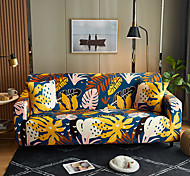 abordables -Feuilles florales jaunes imprimer housses tout-puissantes anti-poussière housse de canapé extensible housse de canapé en tissu super doux avec une taie d'oreiller gratuite