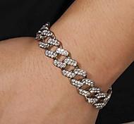 abordables -Bracelet Lien cubain Cœur Européen Bracelet Bijoux Dorée Argent Forme de Cercle pour Anniversaire