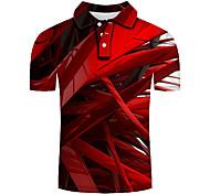 abordables -Homme Chemise de golf 3D effet Géométrique Impression 3D Imprimé Manches Courtes Décontracté Hauts Personnalisé Simple Mode Rouge