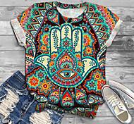 abordables -Femme Grande taille Imprimé Graphique Tribal Œil T-shirt Grande taille Col Rond Manches Courtes Hauts XL XXL 3XL Bleu Grande taille / Grandes Tailles
