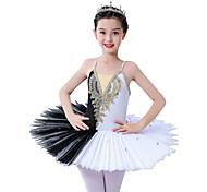 economico -Danza classica Abito Con applique Con ruche Più materiali Da ragazza Addestramento Prestazioni Senza maniche Di pizzo Tulle