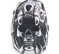 economico -anello in acciaio inossidabile vintage gotico con teschio di morte stile motociclista halloween (grigio, 12)