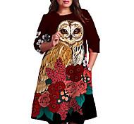 abordables -Femme Grande taille Robe Robe Droite Robe Longueur Genou Manches 3/4 Fleurie Bloc de Couleur Animal Imprimé Simple Automne Printemps Eté Rouge XL XXL 3XL 4XL 5XL / Grandes Tailles