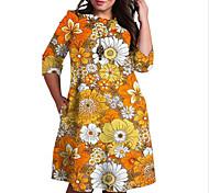 abordables -Femme Grande taille Robe Robe Droite Robe Longueur Genou Manches 3/4 Fleurie Imprimé Bloc de Couleur Imprimé Simple Automne Printemps Eté Rouge Orange XL XXL 3XL 4XL 5XL / Grandes Tailles
