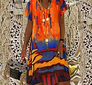 economico -Per donna Vestito a trapezio Abito al ginocchio Arancione Verde Manica corta Con stampe Collage Con stampe Autunno Primavera A V caldo Casuale abiti da vacanza 2021 S M L XL XXL 3XL