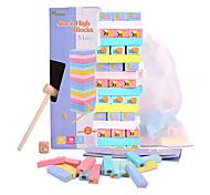 economico -gioco jenga colorato con animali dipinti - giocattolo educativo gioco torre tumble per bambini dai 3 anni in su - blocchi impilabili da 51 pezzi con custodia