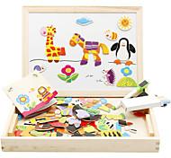 abordables -jouets éducatifs en bois chevalet d'art magnétique animaux jeux de puzzles en bois pour enfants