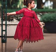 abordables -Robe en polyester à manches longues en dentelle de couleur unie active mignonne pour enfants fille rouge