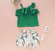 economico -Bambino Bambino (1-4 anni) Da ragazza Completo Manica corta Verde Pop art Con stampe Da tutti i giorni Attivo Standard Sopra il ginocchio 2-8 anni