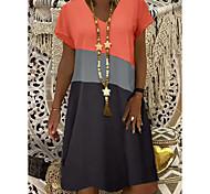 abordables -Femme Robe Droite Robe Longueur Genou Jaune Orange Kaki Manches Courtes Bloc de Couleur Eté Col en V chaud Simple robes de vacances 2021 S M L XL XXL 3XL 4XL 5XL