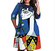 abordables -Femme Grande taille Robe Robe Droite Robe Longueur Genou Manches 3/4 Imprimé Bloc de Couleur Géométrique Imprimé Simple Automne Printemps Eté Bleu XL XXL 3XL 4XL 5XL / Grandes Tailles