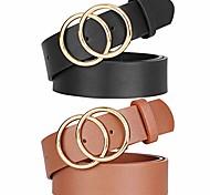 economico -cintura donna in pelle con doppio o-ring cintura con fibbia firmata dorata moda per jeans pantaloni abiti da, nero + marrone, s 31-35 pollici
