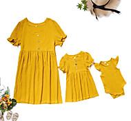 abordables -Maman et moi Lots de Vêtements pour Famille Robe Couleur Pleine Manches Courtes Imprimé Jaune Mi-long Eté