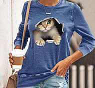 abordables -T-shirt Femme Quotidien Sans Doublure Chat Graphique 3D Manches Longues Imprimé Col Rond Hauts Standard Haut de base basique Noir Bleu Jaune