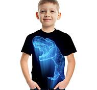 abordables -Enfants Garçon T-shirt Tee-shirts Manches Courtes à imprimé arc-en-ciel Imprimé Enfants Hauts Actif basique Noir Vert Véronèse