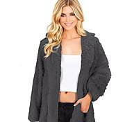 economico -Per donna Tinta unita Autunno inverno Standard Cappotto teddy Quotidiano Pelliccia sintetica Manica lunga Cappotto Top