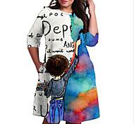 abordables -Femme Grande taille Robe Robe Droite Robe Longueur Genou Manches 3/4 Imprimé Bloc de Couleur Imprimé Simple Automne Printemps Eté Bleu XL XXL 3XL 4XL 5XL / Grandes Tailles