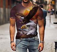 economico -Per uomo maglietta Stampa 3D Pop art Con stampe Manica corta Feste Top Esagerato Blu Giallo Marrone chiaro