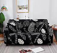economico -fodera per divano elasticizzata onnipotente antipolvere con stampa foglie nere tessuto super morbido con una custodia in omaggio