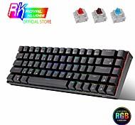 economico -rk837 cablato bluetooth 2.4g tastiera meccanica tablet telefono tre modalità hot-swap 68 tasti asse ciliegia tè verde