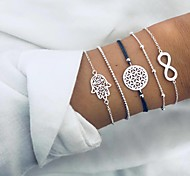 abordables -européen et américain nouveau bracelet créatif transfrontalier mode chanceux huit caractères paume creuse cinq pièces ensemble bracelet femmes Vente en gros