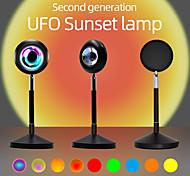 abordables -lampe de projection coucher de soleil lumière arc-en-ciel romantique rgb 16 couleurs changeantes réseau de rotation à 180 ° lampe d'éclairage d'ambiance lumière rouge avec télécommande prise usb pour chambre chambre