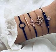 abordables -Vente chaude européenne et américaine nouveau totem de boussole transfrontalier bracelet hexagonal noir ensemble de perles d'amour de diamant de cinq pièces