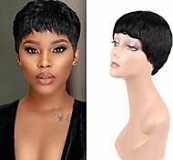 abordables -perruques courtes de cheveux humains perruques courtes coupées de lutin perruques courtes naturelles perruques de cheveux humains faites à la machine pour les femmes noires