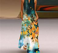 abordables -2021 station indépendante d'été nouvelle jupe longue imprimée rétro européenne et américaine col en v multicolore longue robe sexy sans manches