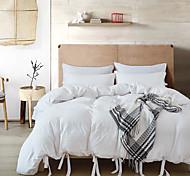 abordables -parure de lit ensemble de housse de couette en coton lavé avec nœud papillon, tissu froissé de couleur unie et nature douce, résistant à la décoloration et hypoallergénique king / queen / twin size