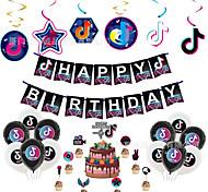 economico -decorazioni per feste di compleanno tik tok, forniture per feste tik tok - tik tok happy birthday cake topper e tik tok banner di compleanno per musica da ragazza forniture per feste a tema karaoke