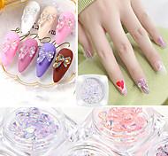 economico -7pcs / set nail art farfalla gioielli aurora colore fantasma decorazione unghie colla di cristallo adesivi per unghie giapponesi super flash tridimensionali