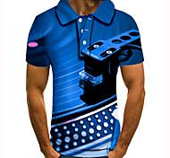 abordables -Homme Polo 3D effet Imprimés Photos Instrument de musique Bouton bas Manches Courtes Plein Air Hauts Simple Mode Frais Bleu