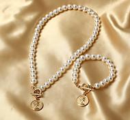 economico -nuova moda transfrontaliera semplice collana di perle femminile ins vento freddo bellezza testa ciondolo breve catena clavicola tendenza
