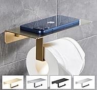 abordables -étagère à papier toilette multifonction avec rangement pour téléphone porte-papier en rouleau en acier inoxydable avec vis fixé au mur 1pc