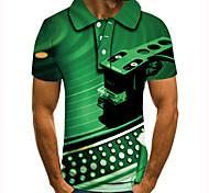abordables -Homme Polo 3D effet Imprimés Photos Instrument de musique Bouton bas Manches Courtes Plein Air Hauts Simple Mode Frais Vert