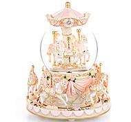 economico -carousel snow globe gift, music box with light 8-horse windup musical christmas valentine compleanno anniversario presente per figlia moglie ragazza bambini clockwork melody canon