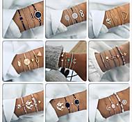 abordables -Vente chaude transfrontalière européenne et américaine de nouveaux styles de bijoux à la main de mode bracelet rétro simple ensemble de bracelet géométrique en pierre hao