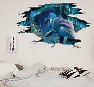abordables -La décoration de fond de maison de chambre d'enfant du monde sous-marin de dauphin de mur cassé 3D peut être enlevée