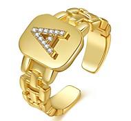economico -blogger europei e americani con la stessa serie di lettere ad anello, anello aperto con lettera di design con cinturino in vero oro placcato