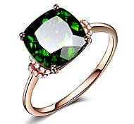 economico -Anello con gemma verde smeraldo placcato oro rosa 18 carati, semplice e suggestivo anello di cristallo di tormalina verde intarsiato gioielli femminili