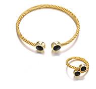 abordables -nouveau produit transfrontalier accessoires titane acier câble anneau de câble ensemble bracelet simple anneau en acier inoxydable