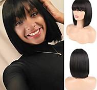 abordables -Perruque Cheveux Naturel humain Fabriqué à la machine Cheveux Brésiliens Droit Naturel Bob Coupe Carré Femme Classique Homme Pour Cheveux Africains 12 pouces Couleur naturelle Perruque Naturelle