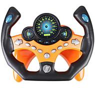 economico -volante giocattolo pilota di guida giocattolo di guida portatile copilota giocattolo dal suono educativo regalo volante con musica per bambini (arancione / verde)