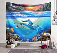 abordables -Tapisserie murale art décor couverture rideau suspendu maison chambre salon décoration polyester monde antique des dauphins sous-marins