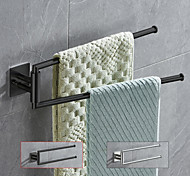 abordables -Porte-serviettes pliant pivotant à 180 degrés en acier inoxydable salle de bain porte-serviettes à 2 tiges argenté brossé et noir mat 1pc